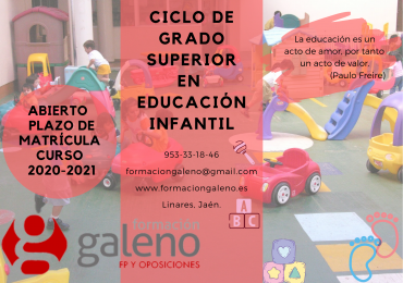 ULTIMAS PLAZAS CFGS EN TÉCNICO SUPERIOR EN EDUCACIÓN INFANTIL PRESENCIAL.